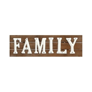 """Wood/Metal Family Sign 7"""" X 23.5"""""""