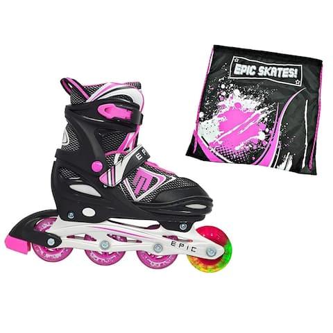 Epic Fury Black Nylon Inline Indoor/ Outdoor Adjustable Inline Skate 2 Pc. Bundle