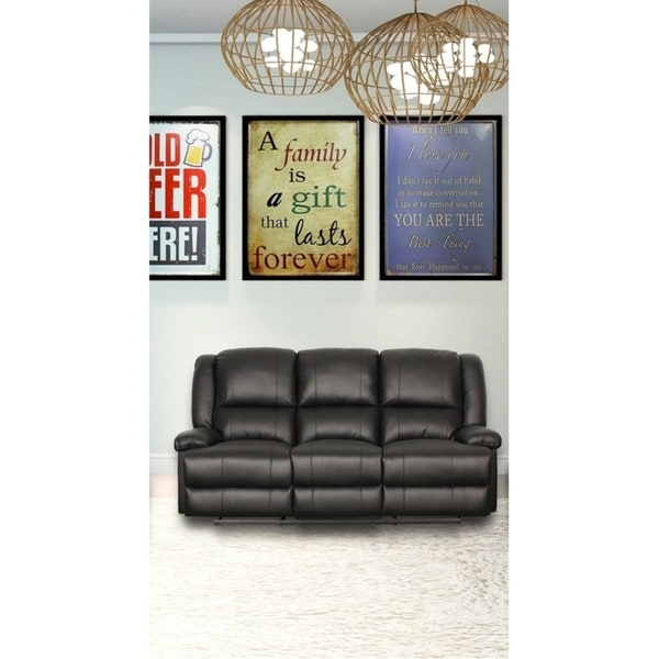 Shop Ruth Black Genuine Leather Recliner Sofa Free Shipping Today