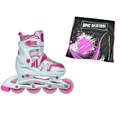 Epic Pixie Pink & White Indoor/ Outdoor Adjustable Inline Skate 2 Pc. Bundle
