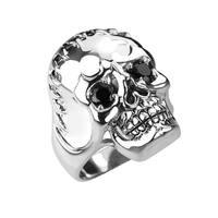 Solid Sterling Silver Fringed Skull Ring
