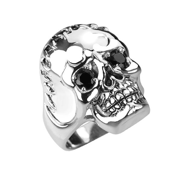 Solid Sterling Silver Fringed Skull Ring