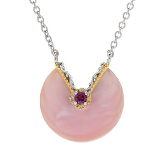 Michael Valitutti Palladium Silver Special Cut Pink Mother-of-Pearl & Rhodolite Necklace