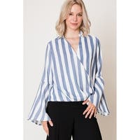 Olivia Pratt Stripe Bell Sleeve Crossover Blouse