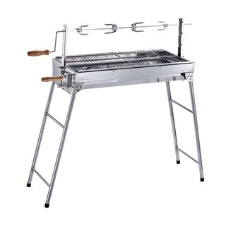 ALEKO Portable Foldable Charcoal Barbecue Grill with Roasting Bar
