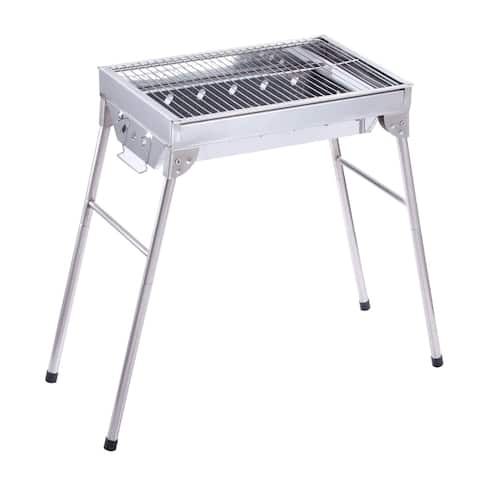 ALEKO Portable Foldable Stainless Steel Charcoal Barbecue Grill