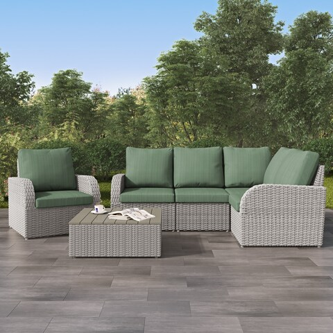 Weather Resistant Blended Grey Corner Sectional with Coffee Table Set