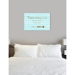 Oliver Gal 'Jewelry Road Sign' Fashion and Glam Wall Art Canvas Print - Blue, Gold