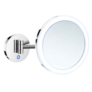 Smedbo Shaving and Make Up Battery Wallmount Mirror with 5X Magnification and Led Light Warm/Cool - Silver