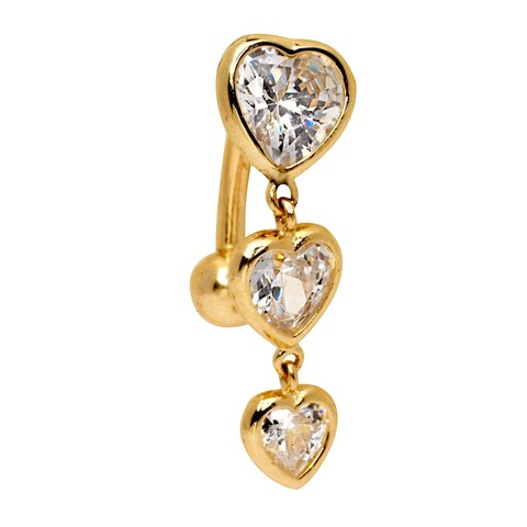 Curata Solid 14k Yellow or White Gold Graduated Heart Cubic Zirconia Top Mount Belly Button Ring Dangle (7mm x 24mm)