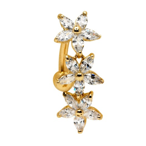 Curata Solid 14k Yellow or White Gold Marquise Flower Cubic Zirconia Top Mount Belly Button Ring Dangle (7mm x 24mm)