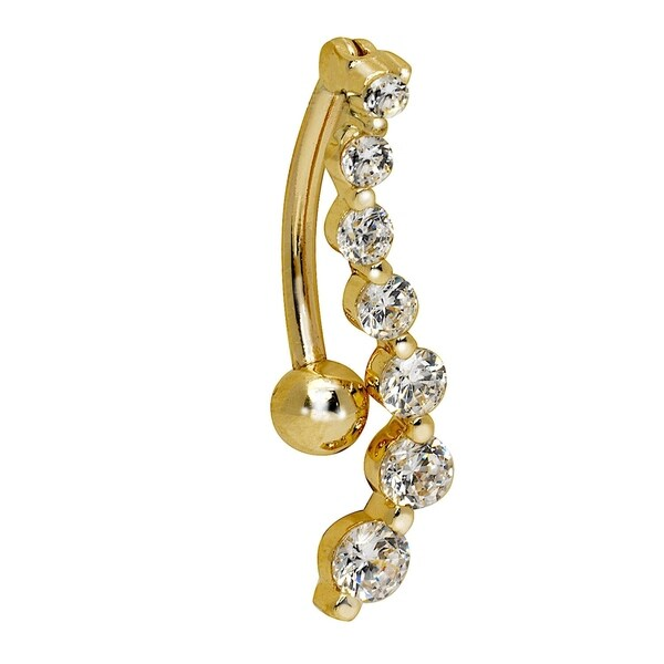 Shop Curata Solid 14k Yellow Or White Gold Journey Round Cubic