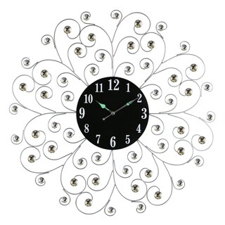 "Circular Metal Wall Clock Silver Spirals w/ Clear Gem Accents 27"" Modern Home & Office Wall Decor"