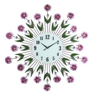 Large Round Metal Wall Clock Purple Flowers & Green Leaves Bejeweled w/ Citrine & Clear Gems 27""