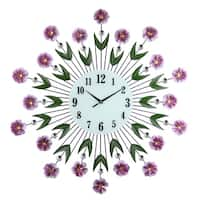 """Large Round Metal Wall Clock Purple Flowers & Green Leaves Bejeweled w/ Citrine & Clear Gems 27"""""""