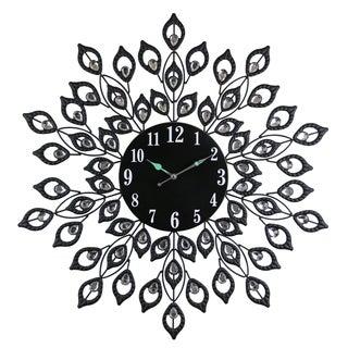 """Black Metal Round Wall Clock Blooming Leaves Bejeweled w/ Clear Gems 28"""" Nature Inspired Home & Wall Décor"""