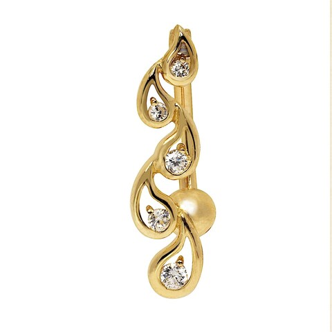 Curata Solid 14k Yellow or White Gold Journey Tear-drop Round Cubic Zirconia Top Mount Belly Button Ring Dangle (7mm x 24mm)