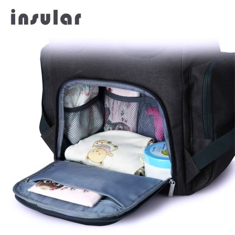 INSULAR Multifunctional Shoulder Bag Mummy Bag Nylon Baby Diaper Bag Nappy Bag