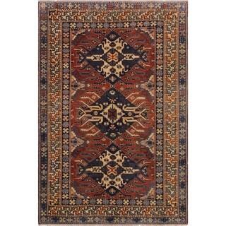 Super Kazak Jinny Red/Ivory Wool Rug (6'0 x 6'9) - 6 ft. 0 in. x 6 ft. 9 in.