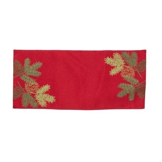 Christmas Pine Tree Branches Embroidered Double layer 16 by 36-Inch Table Runner