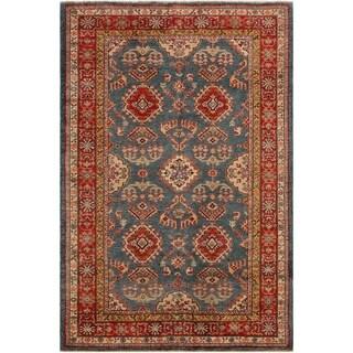 Super Kazak Stevie Blue/Rust Wool Rug - 4'8 x 6'5