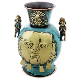 Novica Gold Tone Chancay Face Copper And Bronze Decorative Vase - Peru