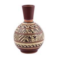 Handmade Brown Moche Lifestyle Decorative Ceramic Vase (Peru)