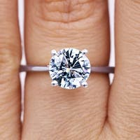 18KT White Gold 1.65 Ct TDW Round Solitaire Certified Diamond Engagement Ring
