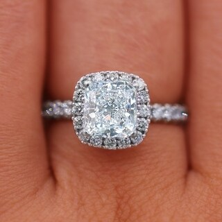 18KT White Gold 2.68 Carat Cushion Cut Diamond Engagement Ring