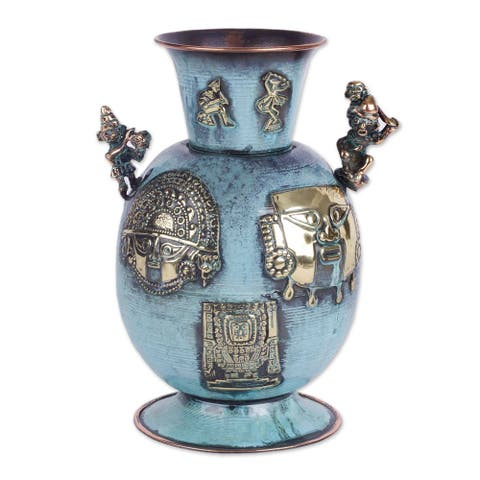 Handmade Green History of Warriors Copper and Bronze Decorative Vase (Peru)