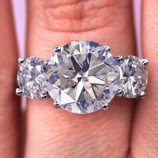18KT White Gold 7.31 Ct TDW Three-Stone Diamond Engagement Ring