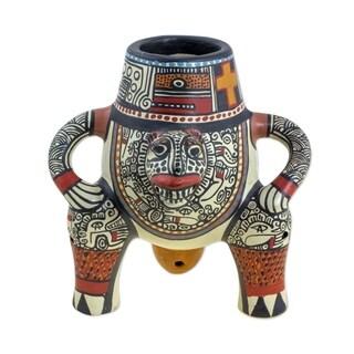 Novica Multicolor Jaguar King Ceramic Decorative Vase - Nicaragua