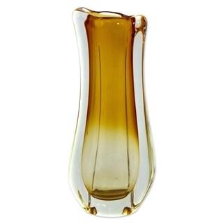 Novica Yellow Golden Ombre Hand Blown Art Glass Vase - Brazil