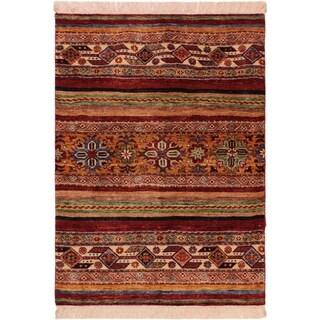 Khurgeen Geoffrey Red/Blue Wool Rug (2'11 x 3'9) - 2 ft. 11 in. x 3 ft. 9 in.