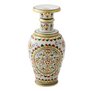 Novica Gold Tone Rajasthani Garden Marble Decorative Vase - India