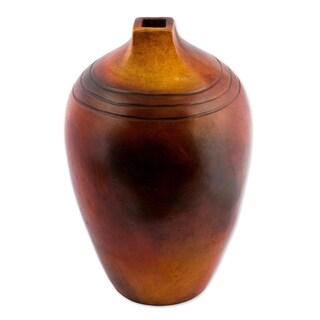 Novica Brown Village Wisdom Ceramic Decorative Vase - Mexico