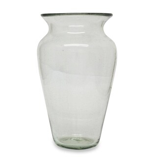 Novica Clear Conical Transparency Blown Glass Vase - Mexico