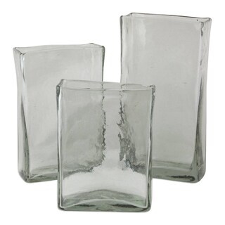 Novica Clear Clear Ice Blown Glass Vases (Set Of 3) - Mexico