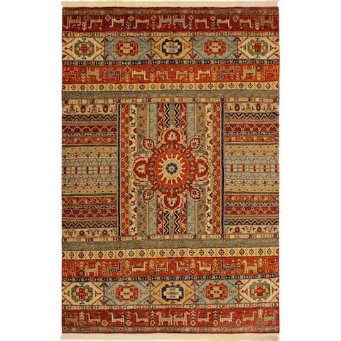 Khurgeen Maynard Rust/Blue Wool Rug (5'7 x 7'9) - 5 ft. 7 in. x 7 ft. 9 in. - 5 ft. 7 in. x 7 ft. 9 in.