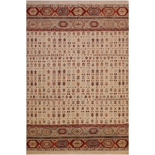 Khurgeen Bruno Ivory/Blue Wool Rug (7'10 x 9'9) - 7 ft. 10 in. x 9 ft. 9 in.