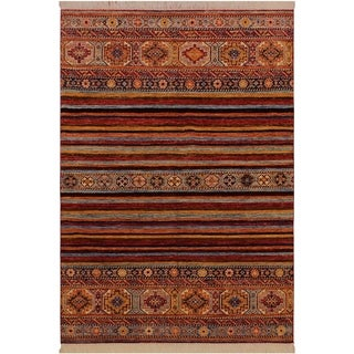 Khurgeen Patricia Red/Blue Wool Rug (5'0 x 6'11) - 5 ft. 0 in. x 6 ft. 11 in.
