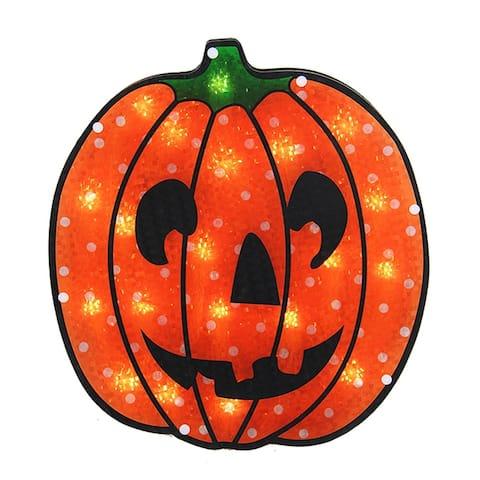 "13"" Holographic Lighted Jack o' Lantern Pumpkin Halloween Window Silhouette"