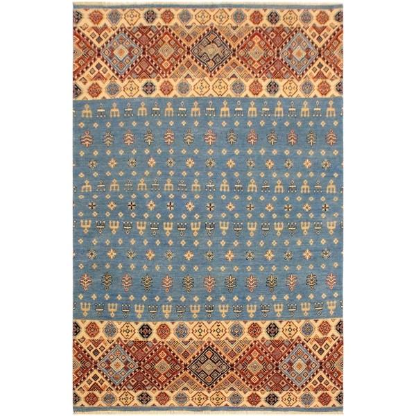 Khurgeen Adelaide Lt Blue Ivory Wool Rug 5 X27 4 X
