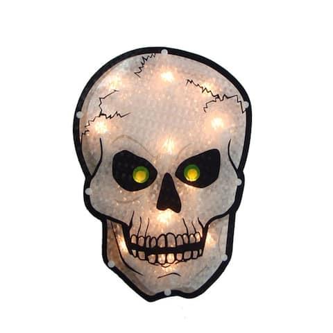 "12"" Holographic Lighted Skull Halloween Window Silhouette"