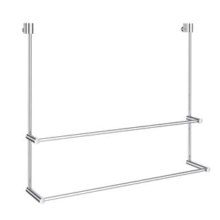 Smedbo No Drill Double Towel Rail for Glass Shower Panel in Polished Chrome Finish