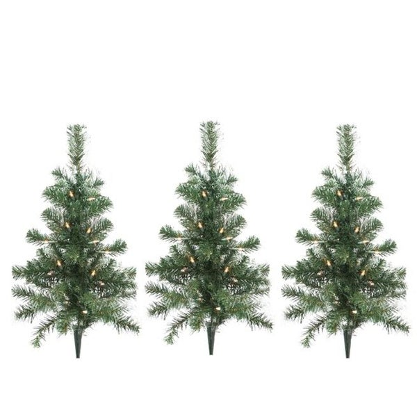 Lighted Christmas Tree.Set Of 3 Lighted Christmas Tree Driveway Or Pathway Markers Outdoor Decorations