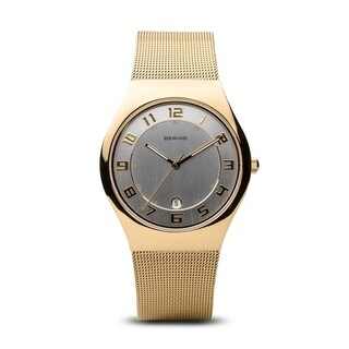 BERING Titanium Slim Watch With Sapphire Crystal & Gold Stainless Steel Strap