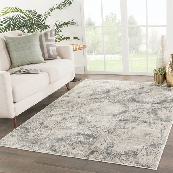 Shop Carrick Damask Gray Ivory Area Rug 5 3 Quot X7 6 Quot On