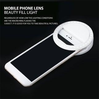 Portable Selfie Light Ring Clip Luminous Lamp LED Flash Light Phone Ring