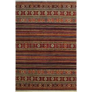 Khurgeen Rogelio Red/Blue Wool Rug (9'8 x 13'0) - 9 ft. 8 in. x 13 ft. 0 in.